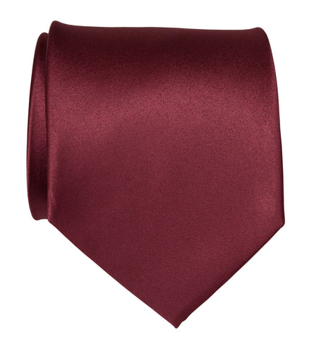 Burgundy Necktie. Solid Color Dark Red Satin Finish Tie, No Print