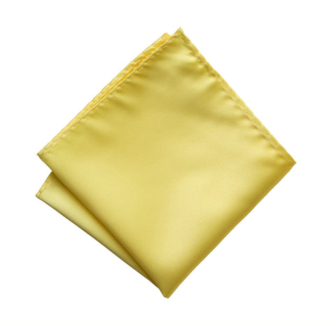 Butter Pocket Square. Light Yellow Solid Color Satin Finish, No Print