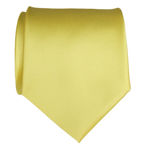 Butter Necktie. Light Yellow Solid Color Satin Finish Tie, No Print