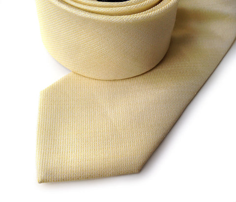 Butter Yellow Linen Necktie. Solid color tie, Paczki