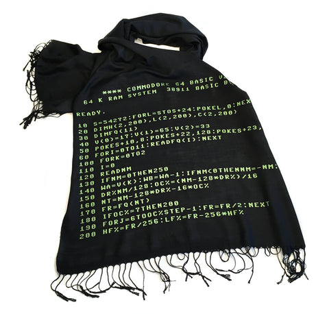 c64 Scarf. Commodore BASIC Code linen-weave pashmina