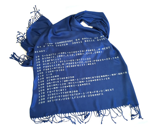c64Scarf. Commodore BASIC Code pashmina.
