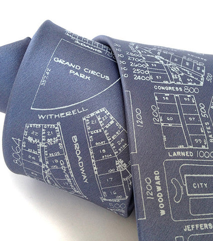 Campus Martius Necktie. Detroit Map Tie