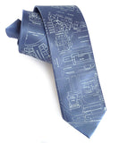 Detroit Map Tie: Campus Martius Necktie on steel blue
