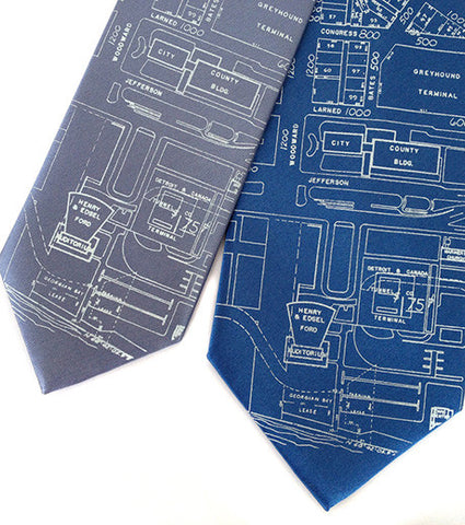 Campus Martius. Detroit Map Necktie, Silk.