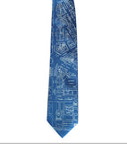 Campus Martius Necktie: Ice print on french blue.