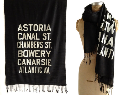 New York City Subway Scroll Sign Scarf. Astoria Queens linen-weave pashmina.