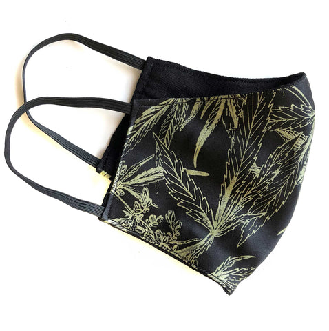 Cannabis Leaf Face Mask, adjustable botanical print fashion fabric face cover