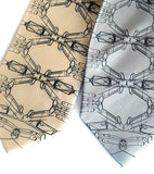 Mustang Argyle Neckties. Black pearl on cream, silver