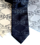 Cargyle Ties. Black pearl ink on cream, black, silver