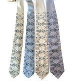 Mustang print ties. Black pearl on cream, silver narrow and standard
