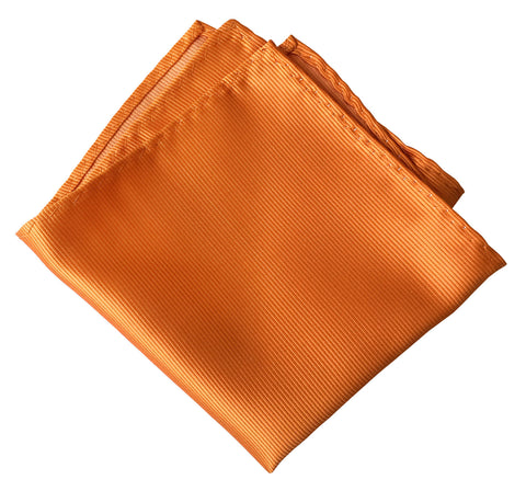 Carrot Orange Pocket Square. Solid Color Fine-Stripe, No Print