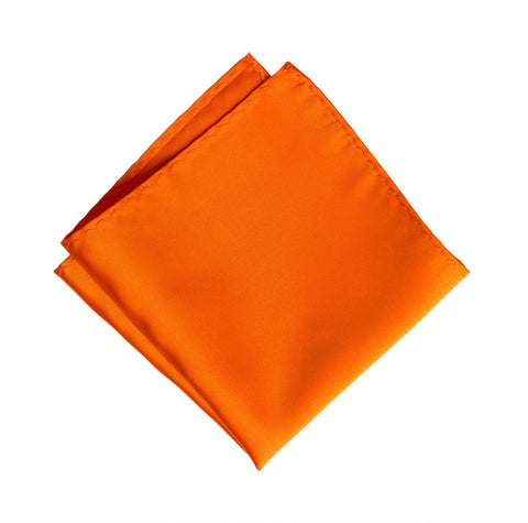 Carrot Orange Pocket Square. Solid Color Satin Finish, No Print