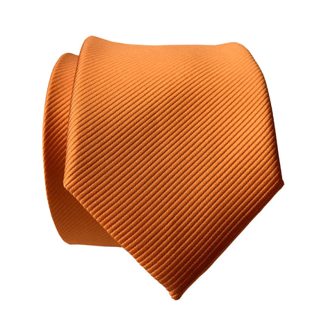 Carrot Orange Necktie. Solid Color Fine-Stripe Tie, No Print