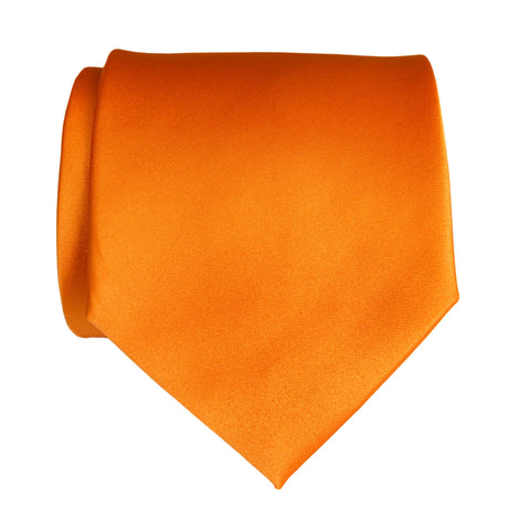 Carrot Orange Necktie. Solid Color Satin Finish Tie, No Print