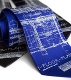 Architect Necktie. White on royal blue.