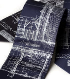 Navy blue Detroit blueprint necktie.