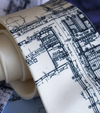Detroit Blueprint neckties, Cass Tech. Navy ink on cream.
