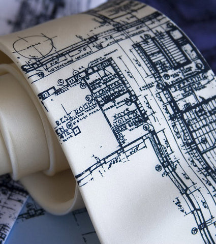 Blueprint Necktie. Detroit's Cass Tech Silk Tie