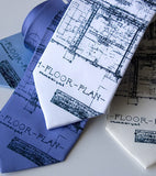Architect Necktie. Navy on white, sky, periwinkle, cream