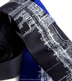 Class Tech Blueprint Tie. White print on navy