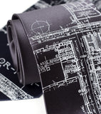 Charcoal blueprint necktie