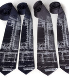 Detroit Blueprint neckties, white screenprint.