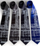 Detroit Blueprint ties, white screenprint.