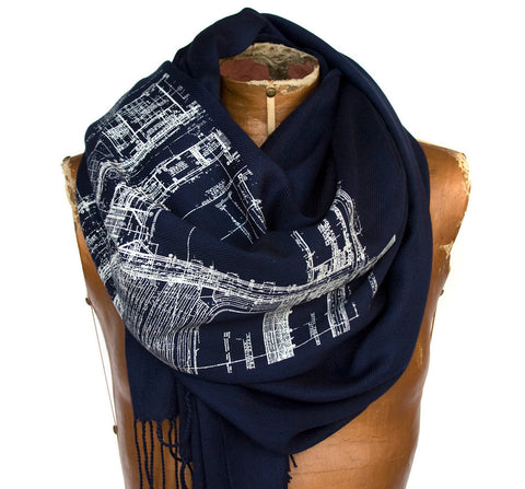Blueprint Pashmina Scarf, Cass Tech Detroit