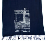 Detroit architecture blueprint scarf
