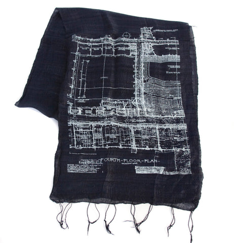 Blueprint Silk Scarf, Cass Tech Detroit