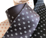Charcoal Cat Face Necktie, Repeating Cat Dot Pattern Tie. Cyberoptix