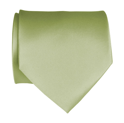 Celery Green Necktie. Solid Color Satin Finish Tie, No Print