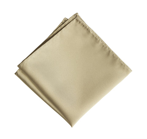 Champagne Pocket Square. Light Tan Solid Color Satin Finish, No Print