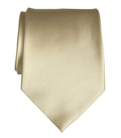 Champagne Necktie. Light Tan Solid Color Satin Finish Tie, No Print