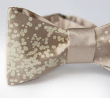 Ivory-cream ink on champagne bow tie
