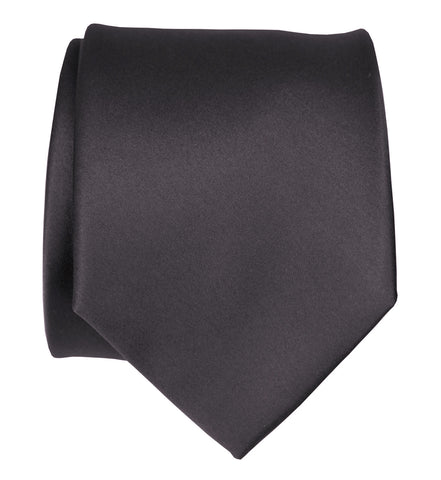 Charcoal Necktie. Solid Color Dark Grey Satin Finish Tie, No Print