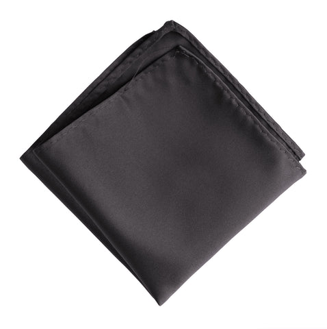 Charcoal Pocket Square. Solid Color Dark Grey Satin Finish, No Print