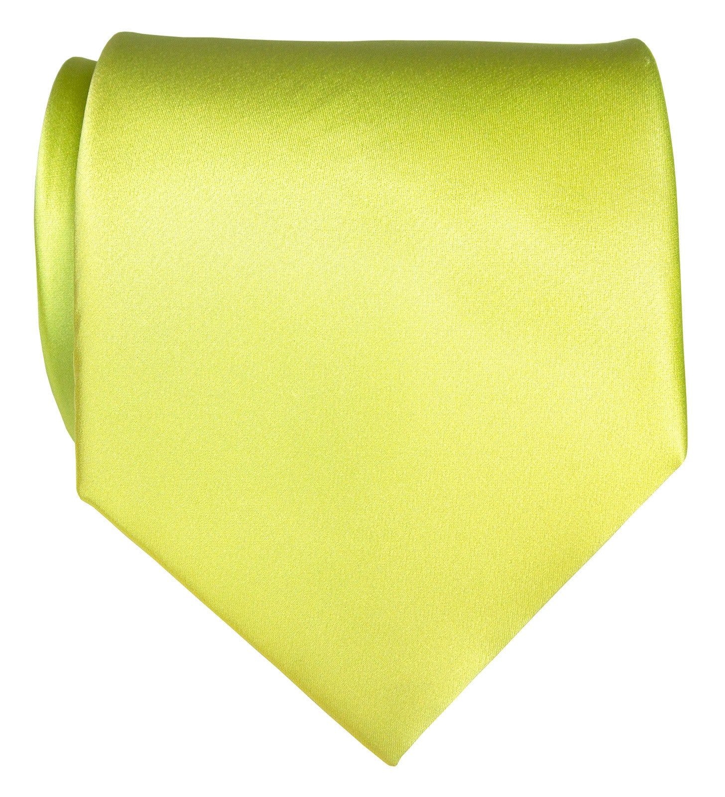 Chartreuse Necktie Yellow Green Solid Color Satin Finish Tie No
