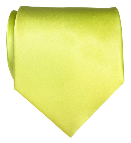Chartreuse Necktie. Yellow-Green Solid Color Satin Finish Tie, No Print