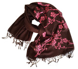 Cherry Blossom Scarf. Floral print linen-weave pashmina, by Cyberoptix. Pink and brown.