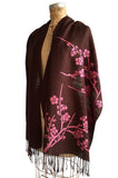 Pink and brown Cherry Blossom Shawl. Floral print linen-weave pashmina, by Cyberoptix.