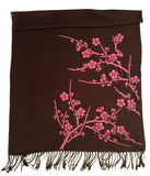 Cherry Blossom Scarf. Floral print linen-weave pashmina, by Cyberoptix. Fuchsia and espresso brown.