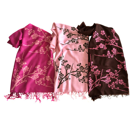 Cherry Blossom Scarf. Floral print linen-weave pashmina
