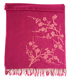 Cherry Blossom Scarf. Floral print shawl, by Cyberoptix. Hot Pink.