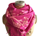 Cherry Blossom Scarf. Floral print linen-weave pashmina, by Cyberoptix. Pink on magenta