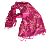 Magenta Cherry Blossom Scarf. Floral print linen-weave pashmina, by Cyberoptix.