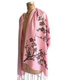Cherry Blossom Wrap Scarf. Floral print linen-weave pashmina, by Cyberoptix. Pink and brown.