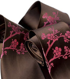 Cherry Blossom Necktie. Fuchsia berry on dark brown.