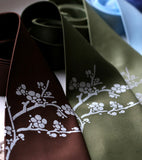Cherry Blossom Ties, silver on dark brown; olive.